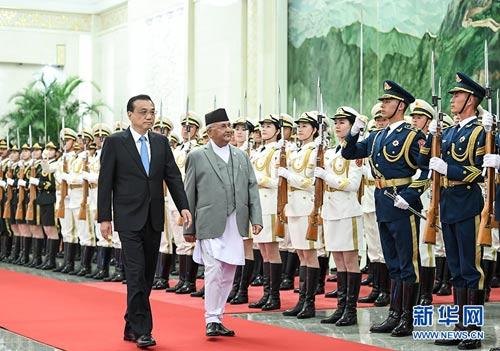李克强同尼泊尔总理奥利