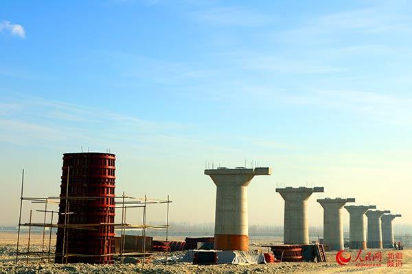 新疆和若铁路玉龙喀什河特大桥墩