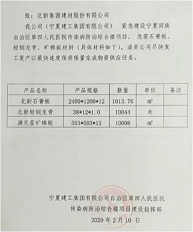 """北新建材全套龙牌产品驰援""""宁夏版小汤山""""医院建设"""