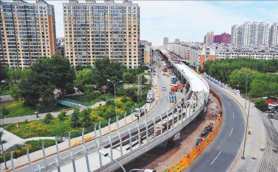 哈尔滨安阳路高架桥桥梁架设完成