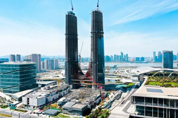 310米双子塔,杭州诞