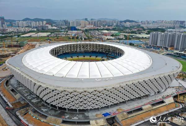 三亚市体育中心体育场建设目前进入收尾阶段