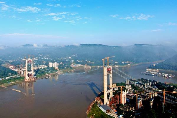 重庆郭家沱长江大桥完成主缆架设