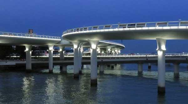 演武大桥不只是壮美,还在于它在世界桥梁建筑上的特殊地位,由于演武大桥低桥位段的桥面标高只有5米,被认为是目前世界上离海平面最近的一座跨海大桥。